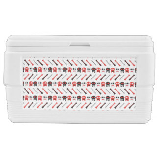 Comic Skull with bones colorful pattern Ice Chest