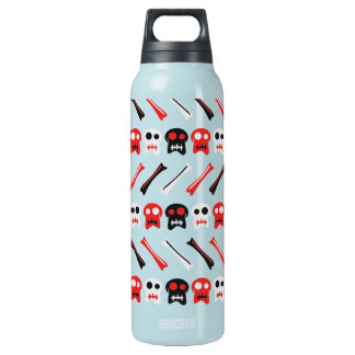 Comic Skull with bones colorful pattern Insulated Water Bottle