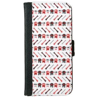 Comic Skull with bones colorful pattern iPhone 6 Wallet Case