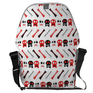 Comic Skull with bones colorful pattern Messenger Bags