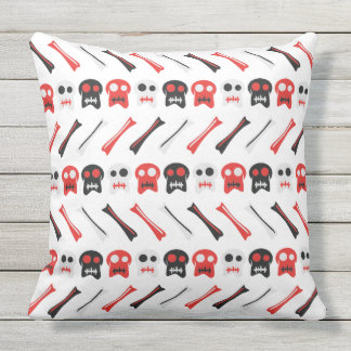 Comic Skull with bones colorful pattern Outdoor Pillow