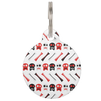 Comic Skull with bones colorful pattern Pet ID Tag