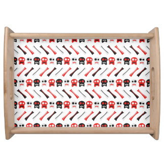 Comic Skull with bones colorful pattern Serving Tray