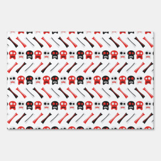 Comic Skull with bones colorful pattern Sign