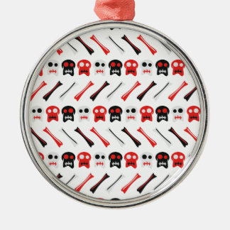 Comic Skull with bones colorful pattern Silver-Colored Round Ornament
