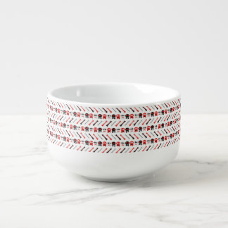 Comic Skull with bones colorful pattern Soup Bowl With Handle