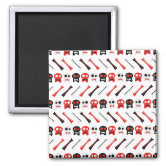 Comic Skull with bones colorful pattern Square Magnet