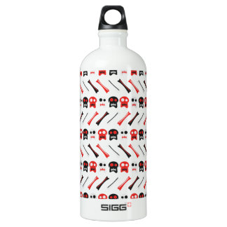 Comic Skull with bones colorful pattern Water Bottle