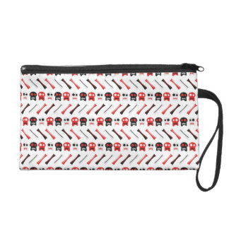Comic Skull with bones colorful pattern Wristlet