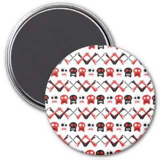 Comic Skull with crossed bones colorful pattern 3 Inch Round Magnet