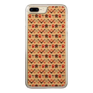 Comic Skull with crossed bones colorful pattern Carved iPhone 8 Plus/7 Plus Case