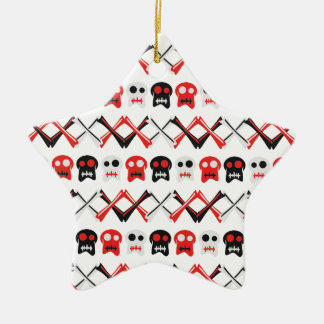 Comic Skull with crossed bones colorful pattern Ceramic Star Ornament