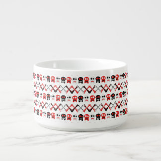 Comic Skull with crossed bones colorful pattern Chili Bowl