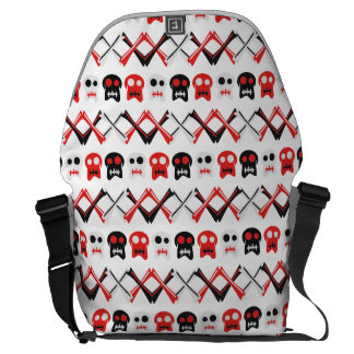 Comic Skull with crossed bones colorful pattern Courier Bag