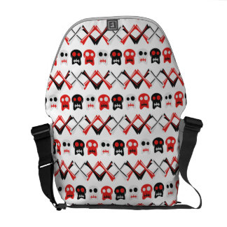 Comic Skull with crossed bones colorful pattern Courier Bags