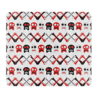 Comic Skull with crossed bones colorful pattern Cutting Boards
