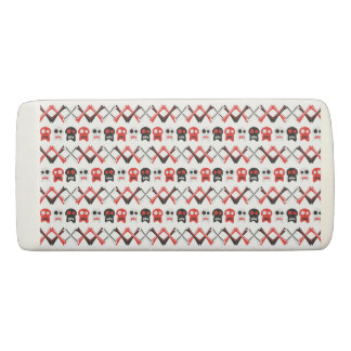 Comic Skull with crossed bones colorful pattern Eraser