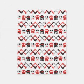 Comic Skull with crossed bones colorful pattern Fleece Blanket