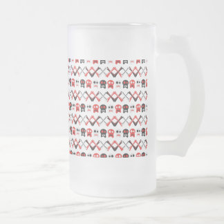 Comic Skull with crossed bones colorful pattern Frosted Glass Beer Mug