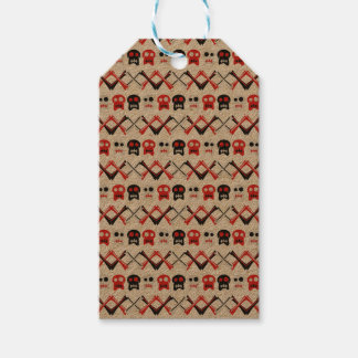 Comic Skull with crossed bones colorful pattern Gift Tags