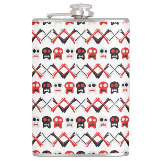 Comic Skull with crossed bones colorful pattern Hip Flask