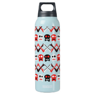 Comic Skull with crossed bones colorful pattern Insulated Water Bottle