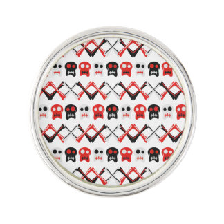 Comic Skull with crossed bones colorful pattern Lapel Pin
