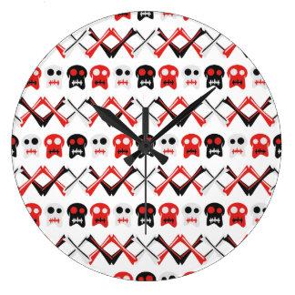 Comic Skull with crossed bones colorful pattern Large Clock