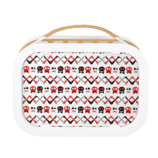 Comic Skull with crossed bones colorful pattern Lunch Box