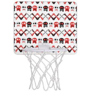 Comic Skull with crossed bones colorful pattern Mini Basketball Hoop