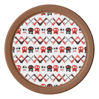 Comic Skull with crossed bones colorful pattern Poker Chips