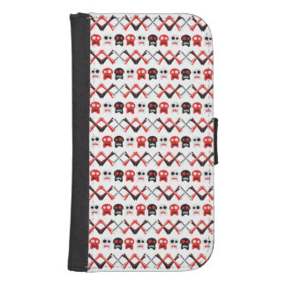 Comic Skull with crossed bones colorful pattern Samsung S4 Wallet Case