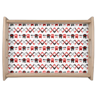 Comic Skull with crossed bones colorful pattern Serving Tray