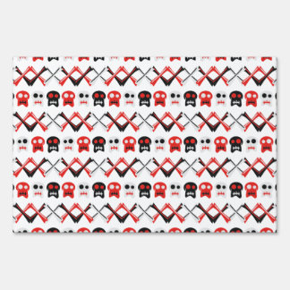 Comic Skull with crossed bones colorful pattern Sign