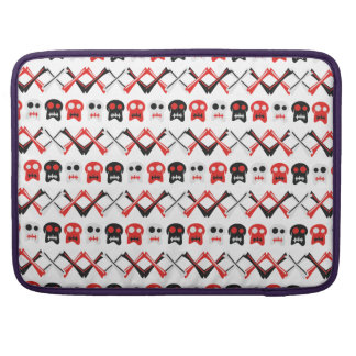 Comic Skull with crossed bones colorful pattern Sleeves For MacBooks