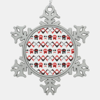Comic Skull with crossed bones colorful pattern Snowflake Pewter Christmas Ornament