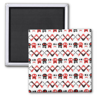 Comic Skull with crossed bones colorful pattern Square Magnet