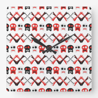 Comic Skull with crossed bones colorful pattern Square Wall Clock