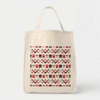 Comic Skull with crossed bones colorful pattern Tote Bag