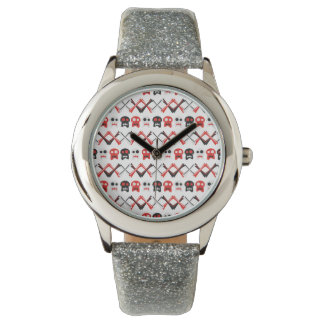 Comic Skull with crossed bones colorful pattern Watch
