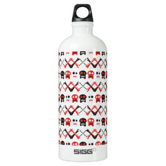 Comic Skull with crossed bones colorful pattern Water Bottle