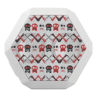 Comic Skull with crossed bones colorful pattern White Bluetooth Speaker