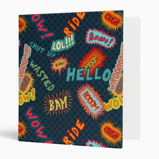 Comic sound effects pattern 3 ring binder
