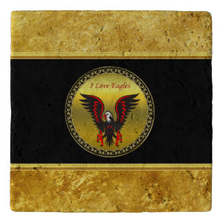 Comic strip Black and red eagle with gold foil Trivet