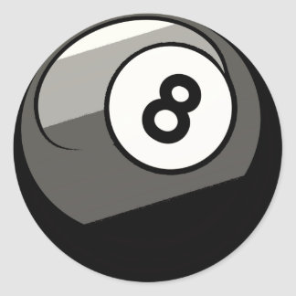 Comic Style 8 Ball Round Sticker
