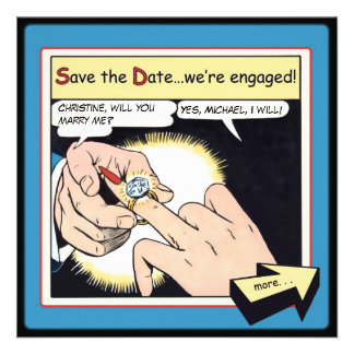 Comic Style Bling Ring Save the Date Blue Invites