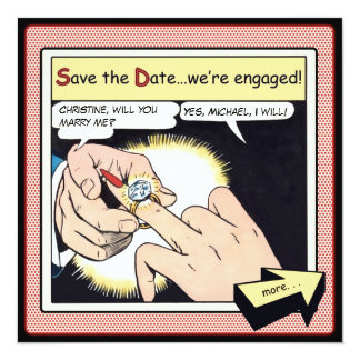 """Comic Style Bling Ring Save the Date Red 5.25"""" Square Invitation Card"""