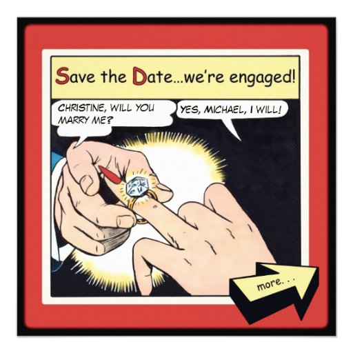 Comic Style Bling Ring Save the Date Red Invite