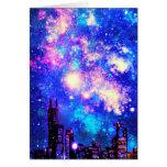 Comic Style City Skyline & Milky Way Night Sky Greeting Card