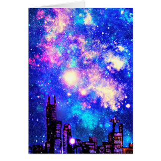 Comic Style City Skyline & Milky Way Night Sky Card
